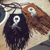eski saçaklı çanta toptan satış-Yeni Vintage Bohemian Fringe Messenger Crossbody Çanta Çanta Kadın Püskül Boho Hippie Çingene Saçaklı Tote Çanta Womens # 94627