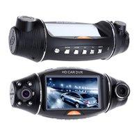 ingrosso sensore della telecamera posteriore-Videoregistratore G-sensor per telecamera posteriore per auto da 140 gradi R310 HD con doppia lente HD DVR per telecamera GPS IR 140 gradi per visione notturna