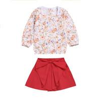 venta vestidos rojos para las niñas al por mayor-Venta caliente ropa de niña 2 unids flores impresas manga larga camiseta rojo pequeño vestido niños niñas trajes