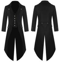 traje victorian steampunk al por mayor-2019 hombres adultos de la moda traje victoriano esmoquin negro moda tailcoat gótico steampunk trench coat frock outfit sobretodo uniforme para hombres