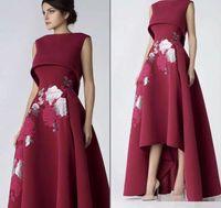 vestido de noche flor delante al por mayor-Elegante Frente alto con espalda baja Flores bordadas Vestidos de baile 2019 Spandex A-Line Vestidos para ocasiones especiales Vestido de noche formal