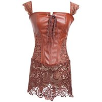 xs шнурует корсет оптовых-Fashion Women Plus Size Steampunk Corset Faux Leather&Lace Sexy Lingerie Corset Dress Solid Lace Up Underbust