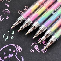 флуоресцентная писчая ручка оптовых-Cute 6 Colors Highlighter Pen Stationery Design Ink Fluorescent Pens Marker Point Pen Colorful Writing Art Supplies