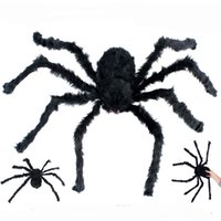 Wholesale props toy large for sale - Group buy 75cm Halloween Large Realistic Hairy Spider Plush Toy Halloween Scary Decoration Horror House Prop Party Favours Supplies JK1909