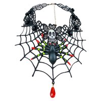 Wholesale black spider ring resale online - Halloween Spider Web Lace Ring Bracelet Gothic Skull Spider Necklace Women s Party Jewelry