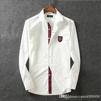 erkekler yakışıklı gömlekler toptan satış-Saf pamuk merserize pamuk yaka gömlek erkek uzun kollu ince Kore moda yakışıklı erkek gömlek iş rahat
