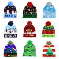 Wholesale kids character crochet hats resale online - LED Christmas Beanie Lighting Pom Hats Kids Snowflake Knitted Hat Adult Xmas Crochet Skull Caps Hats Lights Knitted Ball Cap Headgear D6797