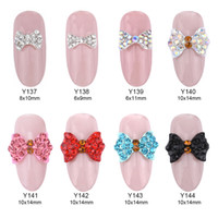 Wholesale nails art black bow resale online - 10pcs alloy glitter nail strass bow nail art crystal nailart rhinestones jewelry nails supplies unha charms decorate Y137