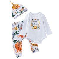 bebek bat pantolon toptan satış-Bebek Cadılar Bayramı Giyim Setleri Karikatür Kabak Mektup Baskılı Tek Göğüslü Tulum Çocuk Tasarım Yarasa Baskılı Pantolon Şapka 3 Adet Tulum 0-2 T 04