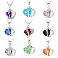 amethyst zircon großhandel-Herzförmige Kristall Halskette Mode Natürliche Amethyst Schlüsselbein Halsketten Intarsien Zirkon Anhänger Halskette Fashion Party Zubehör TTA849