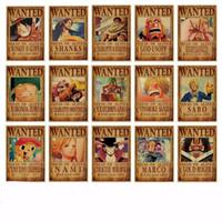 casa café bar venda por atacado-One Piece Luffy Cartaz Cartazes de Papel Kraft Anime Bar Pintura De Parede Núcleo Coffee House Decor Vintage 0 84pm D1