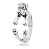 metall-boxer großhandel-Antik Silber Boho Chic Boxer Hund Ring für Frau Anel Mädchen Retro Tier paar Messing Metall Ring Mann Kinder Baby Schmuck Inele