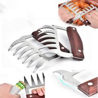 Wholesale resistance tongs for sale - Group buy Meat Shredder Claws Stainless Steel Bear Paws Wooden Handle Chicken Separator Handler Food Forks Puller BBQ Kitchen Tools