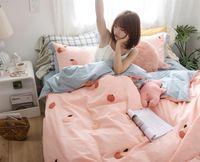 conjuntos de cama de laranja vermelho venda por atacado-Ins Net algodão vermelho lavado conjunto de cama de algodão de 4 peças Orange ins GIRL'S coração princesa estilo Daisy beddings