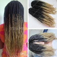 Wholesale ombre kinky braiding hair resale online - 12 Packs Full Head Two Tone Marley Braid Hair inch Black Blonde Ombre Synthetic Hair Extensions Kinky Twist Braiding Express Shipping