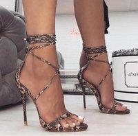 olgun kadınlar yüksek topuklu toptan satış-Yaz kadın Sandalet PU Dantel-Up Ince Yüksek Topuklu Kapak Topuk Sığ Olgun Serpantin Dans Katı 35-40