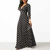 Wholesale dresses for sale - Group buy Women Polka Dot Long Sleeve Boho Dress Elegant Vintage Women Dresses Evening Party V Neck Maxi Long Dress Fashion Ladies Dresses