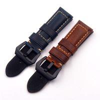 наручные часы из натуральной кожи оптовых-20 22 24 26mm Men high quality Universal Watchbands Retro Genuine Leather thick Watch Bands motion Straps Accessories Wristband