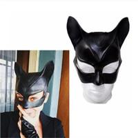 черные супергерои оптовых-Забавный сексуальный черный Catwoman маски Cosplay Prop взрослых Superhero Latex Половина маска Cat девушки косплей Half Face Mask Косплей