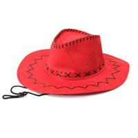 Wholesale dress hat resale online - Hot Retro Unisex Denim Wild West Cowboy Cowgirl Rodeo Fancy Dress Accessory Hats With Rope Multiple Colour