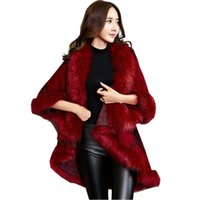 langarm gestricktes kap großhandel-Faux Pelzmantel New Winter Luxury Fashion Faux Fuchspelz Poncho Fledermaus Ärmel Long Plaid Strickjacke Schal Cape Cashmere Coat