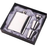 ingrosso scatola del vino-Brocca da vino in acciaio inossidabile portatile Confezione regalo in quattro pezzi Combo Confezione 7 / 8Ov Volumn Set di alta qualità per imbuto Coppa vino