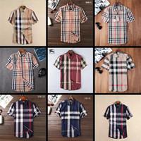 bouton t shirts achat en gros de-2018 hommes d'affaires de la marque Casual shirt hommes à manches longues rayé slim fit masculina social masculin T-shirts nouvelle mode homme chemise à carreaux Q-8