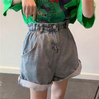 denim jeans cintura ajustável venda por atacado-mulheres doces de cintura alta com nervuras shorts jeans casuais ajustáveis babados cintura império mulheres calça jeans curto comprimento do joelho calções atacado