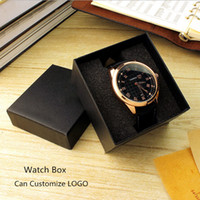 Wholesale clock cases for sale - Group buy Cardboard Watch Storage Box Black Package Clock Cases With Sponge Cheap New Watch Gift Box For Men Customize LOGO