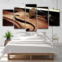 keman sanat toptan satış-5 Adet Keman Dize Resimleri Oturma Odası Müzik Aletleri Wall Art HD Baskı Tuval Boyama Moda Asılı Resimler