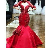 Wholesale organza flower wrap for sale - Mermaid Sparkly Evening Pageant Dresses with Half Sleeve Lace Applique High Neck Trumpet Arabic Dubai Occasion Prom Gowns