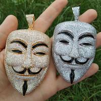 büyük pirinç toptan satış-Büyük Boy Maske Kolye Erkekler Için Hip Hop Kolye Pirinç CZ Buzlu Takı Parti Hediye CN105