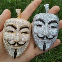 jóia de máscara de festa venda por atacado-Tamanho grande Pingentes de Máscara Colar de Hip Hop Latão CZ Para Homens Presente Jóias Do Partido Gelado CN105