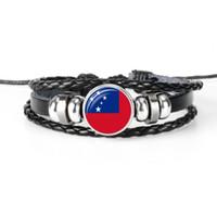 ingrosso corda della tazza-Bohemian Genuine Leather Rope Beaded Bracciali per le donne Uomini Fashion Glass Cabochon Samoa Bandiera nazionale Coppa del mondo di calcio Fan gioielli regali