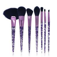 pinceaux de maquillage cheveux violets achat en gros de-Acrylique Pinceaux De Maquillage Ensemble 7 Pièces Poudre Gemtotal Fond De Teint Fard À Paupières Lip Blush Fan Beauté Maquillage Synthétique Cheveux (Violet) Livraison Gratuite