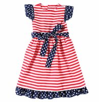 ingrosso vestiti 4 luglio-Baby Girl Abiti a righe Girl Stars Lace Sleeve A-Line Dress American Flag Independence Giornata nazionale USA 4th July Kids Lacing Skirt