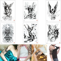 Wholesale women foot sexy resale online - Fake Black Body Art Tattoo Sexy Angel Wing Ancient Greek Warrior Devil Design Waterproof Temporary Tattoo Sticker for Woman Man Arm Leg Back