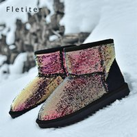 Wholesale womens fashion warm winter boots for sale - Group buy Fletiter Womens Ankle Boots Bling Shoes Fashion Casual Winter Warm Plush Snow Boots nonslip Female Brand Platform Ladies Shoes
