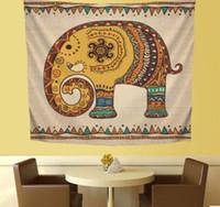 ingrosso copriletti elefante-Tappeto appeso a parete con elefante Tappeto Arazzo Copriletto Modello animale Stampa decorativa domestica Tappeto appeso a parete Tiro Yoga Mat LJJK1831