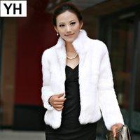 echte kaninchenjacken großhandel-Frauen Echten Kaninchen Pelzmantel Natürlichen Kaninchen Pelzmantel Mode Dünne Dünne 100% Full Pelt Genuine Jacket