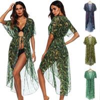 Wholesale woman towel cover up dress resale online - Beachwear Saida De Beach Long Women Dress Towel Cover Ups Summer Tunic Wear Lace Leaf Printed Loose A1920 Acetate