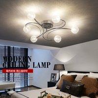 led g4 down light achat en gros de-Moderne en aluminium fil LED plafond lustre éclairage en verre ou K9 cristal abat-jour lustres cuisine lumiere avize led lampe 2 ordres