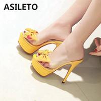 ultra stiletto fersen sandalen großhandel-ASILETO Sommer Plattform sandalen sexy klar pvc transparent pumpen frauen ultra high heels mules schuhe bowtie zapatos stiletto