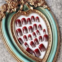 Wholesale gloss art resale online - 24PCS High Gloss Shiny Red Wine Silver False French Nail Tips Full Cover UV Gel Fake Tips Art JIU55