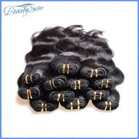 saç uzantıları fabrika toptan satış-Fabrika Gümrükleme Toptan Brezilyalı İnsan Saç Uzantıları Örgüleri Gerçek İnsan Saç Malzeme Yapılan 2 kg 40 Adetgrup Vücut Dalga Siyah Renk Saç
