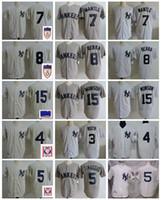 camiseta de béisbol 15 al por mayor-Vintage New York 1951 Golden 7 Mickey Mantle Béisbol Jersey 8 Yogi Berra 3 Babe Ruth 5 Joe DiMaggio 4 Lou Gehrig 15 Thurman Munson