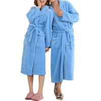 kimono sexy hombres al por mayor-M-3XL Hombre Mujer Suave Fleece Albornoz Otoño Invierno Kimono Bata de baño Albornoces Bata Toalla Grueso Cálido Invierno Togas Pijama