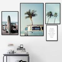 ingrosso paesaggio blu albero-Blue Sea Sky Palm Tree Paesaggio Wall Art Canvas Painting Nordic Manifesti e stampe Immagini di decorazione per Living Room Decor