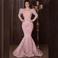 Wholesale gala resale online - Arabic Dubai High Neck Long Sleeves Mermaid Evening Dresses Full Lace Sweep Train Zipper Back Formal Prom Gowns Vestidos de gala