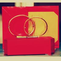 ingrosso bracciali in oro plastico-Amore Bracciali argento oro rosa 316L acciaio al titanio braccialetti donne uomini cacciavite a vite Bracciale gioielli coppia con cofanetto originale